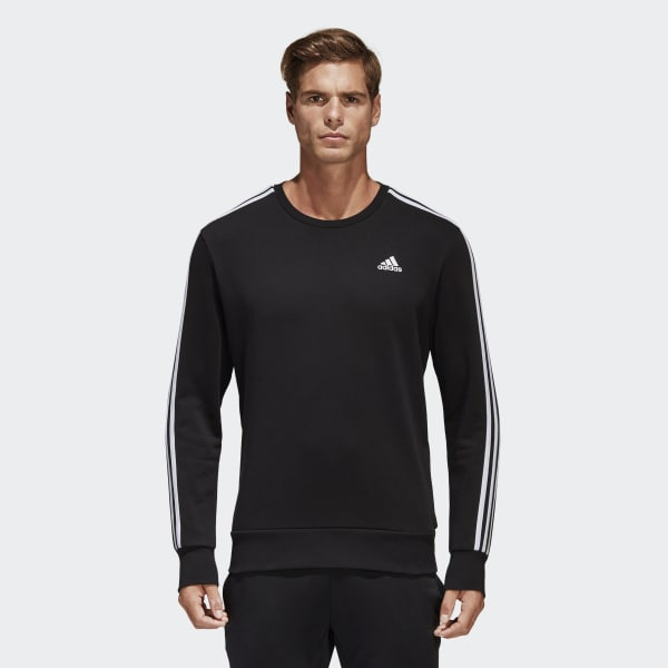 adidas black 3 stripe sweatshirt
