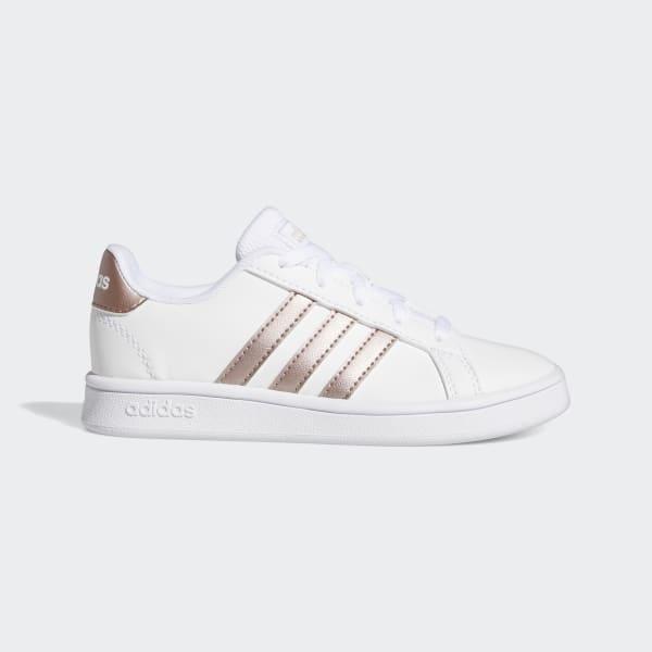 Details zu Adidas Grand Court K EF0101 Weiß Bronze Schuhe Frau Turnschuhe Sport