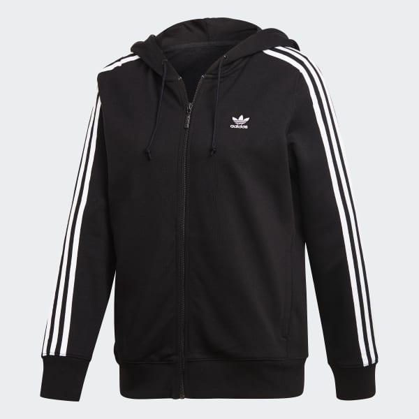 Adidas 3 Stripes Zip Hoodie Black Adidas Uk