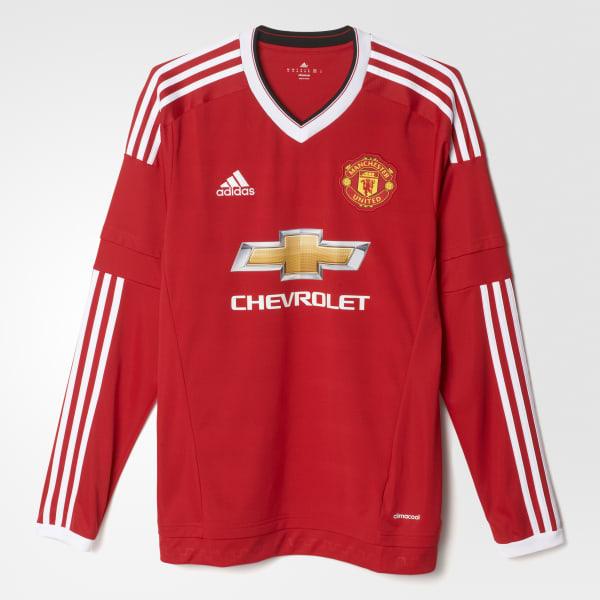 adidas Camiseta Local Manchester United Manga Larga - Rojo  6481fd4566b