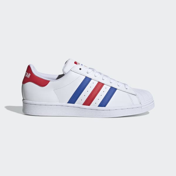 Tibio miembro interrumpir  Superstar Cloud White, Blue & Red Starting Five Shoes | adidas US