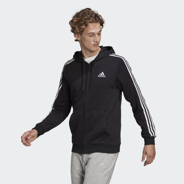 Essentials French Terry 3-Stripes Full-Zip Hoodie