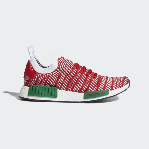 4750c3a99 NMD R1 STLT Primeknit Shoes Collegiate Red   Cloud White   Bold Green D96820