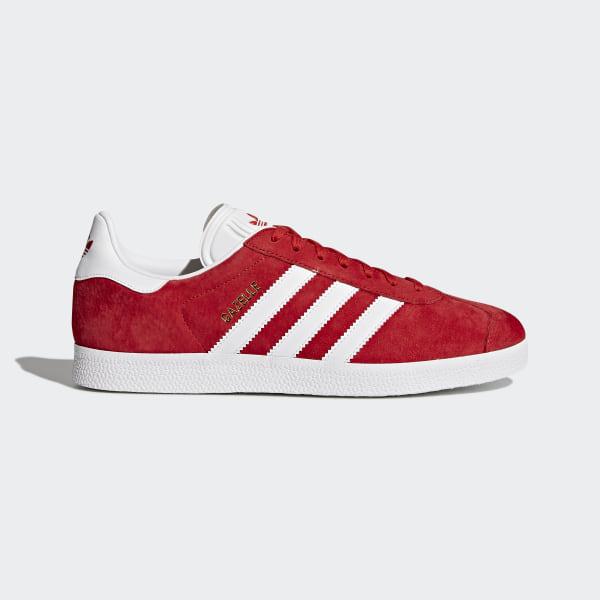 Mens Adidas Gazelle Scarlet Red Footwear White Gold Metallic
