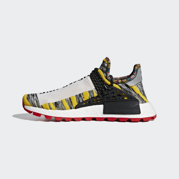 Pharrell x Adidas Hu NMD Solar Pack Black Red Yellow Multi BB9527 Women's Men's Casual Sneakers Shoes