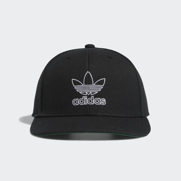 Embroidered Adidas 3 Stripes Snapback Flat Cap Black /& Green One Size Fits Most