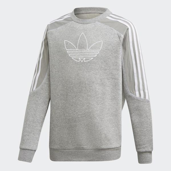 sportanzug adidas, adidas Fleece Crew Sweatshirt Kinder grau