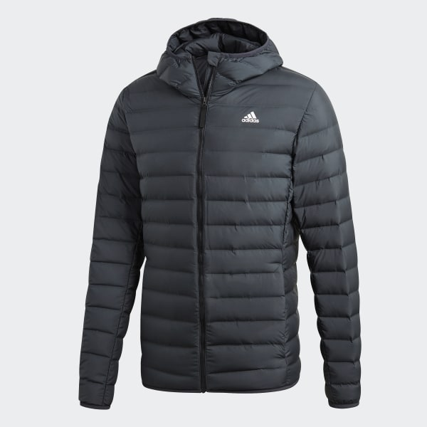 adidas performancevarilite 3-stripes soft hooded down jacket winterjacke carbon