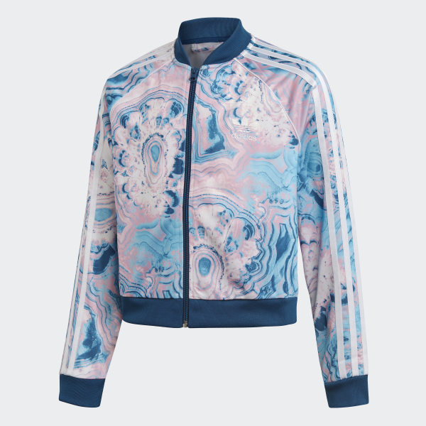 Details about Adidas Marble Print Track Bomber Jacket Size S Small Multi Colored