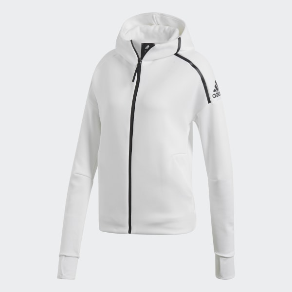 adidas ZNE Zippered Hoodie in White