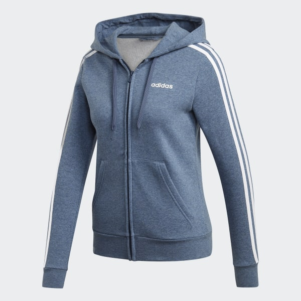 adidas Essentials 3 Stripes Fleece Hoodie Blue | adidas US