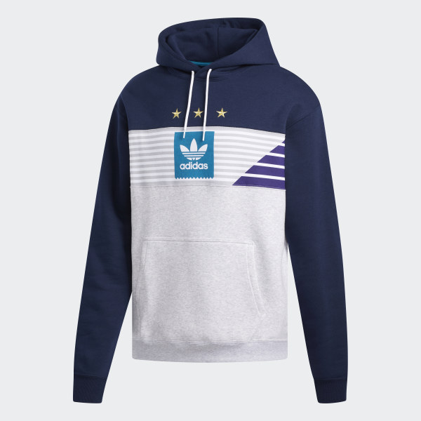 Adidas Mens Blue Long Sleeve Embroidered Lime Green Hoodie