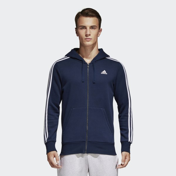 adidas Essentials 3-Stripes Fleece Hoodie - blauw | adidas Belgium
