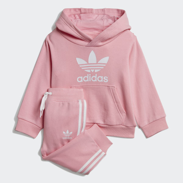 adidas Originals Cotton Trefoil Hoodie And Pants Set in Pink