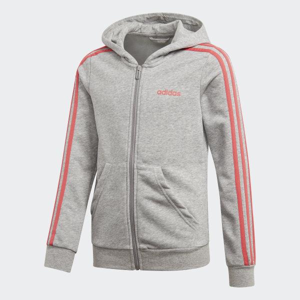 Shop adidas Essentials 3 Stripes Zip Through Hoodie Grey