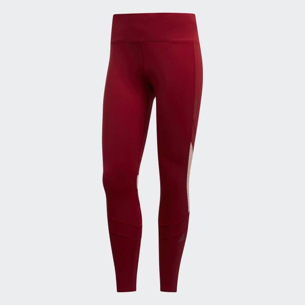 adidas training alphaskin leggings in burgundy