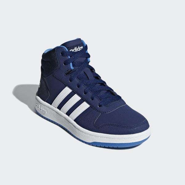 adidas Hoops 2.0 Mid Shoes Kids dark blue blue footwear white