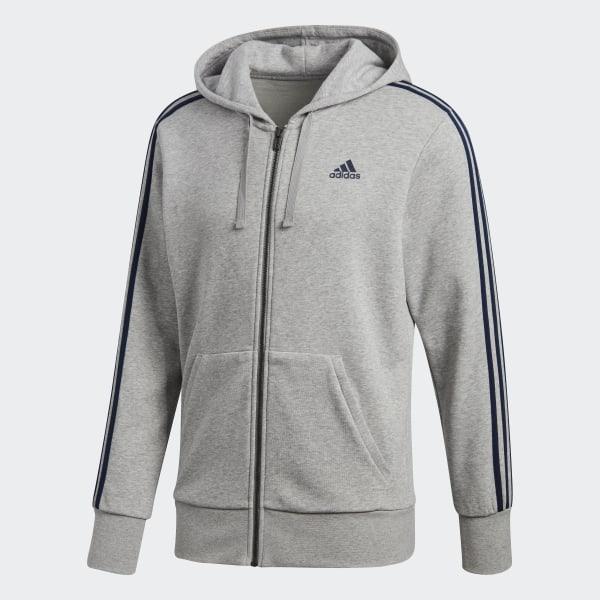 adidas Essentials 3-Stripes Hoodie - Grey | adidas UK