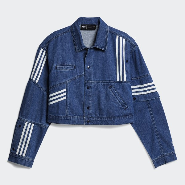 adidas originals blaue denim jacke