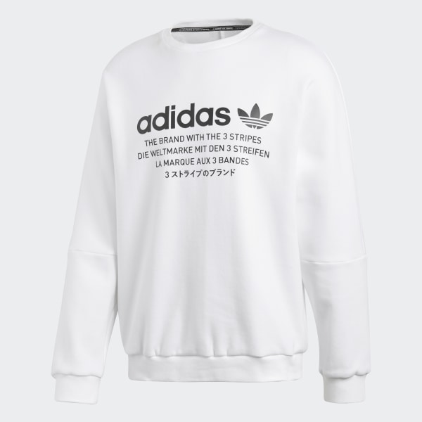 Sweatshirts – Mens Adidas Originals NMD Crewneck Sweatshirt White
