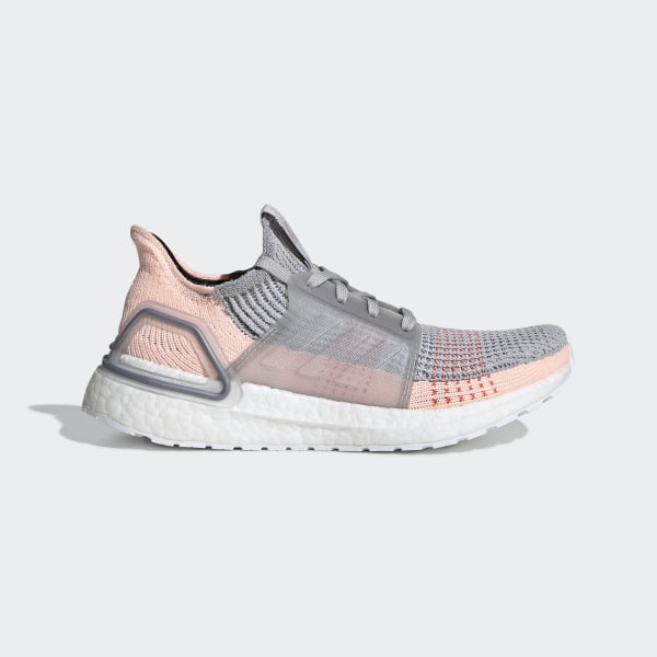 ADIDAS ULTRABOOST 19 Running Shoes, Gray Orange Clear