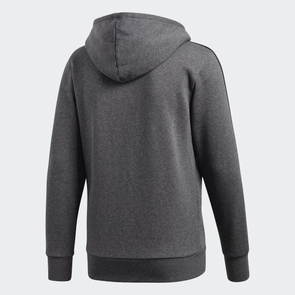 adidas Essentials 3 Stripes Fleece Hoodie Grey | adidas US