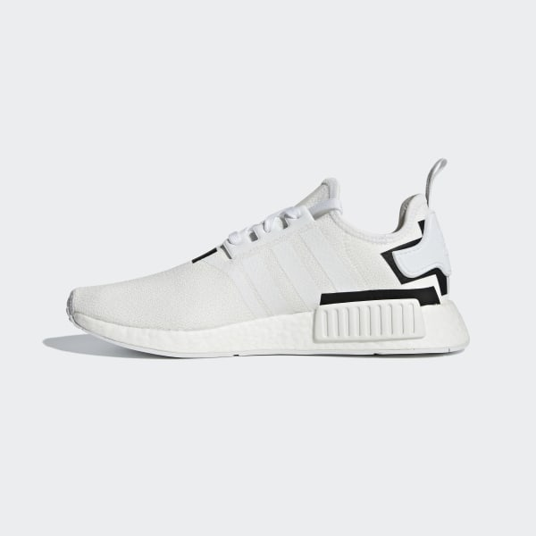 White Adidas MMD R1 White MND R1's. The back of the shoes