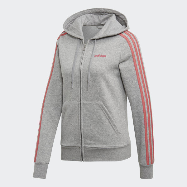 adidas Essentials 3-Streifen Kapuzenjacke - Grau | adidas Switzerland