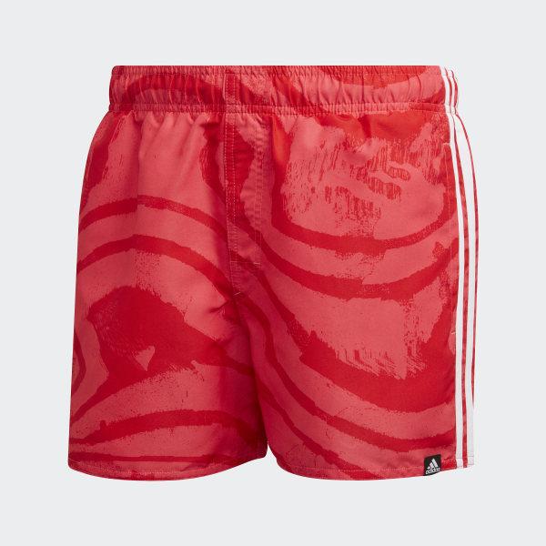 adidas 3 Streifen Allover Print Badeshorts Rot   adidas Deutschland