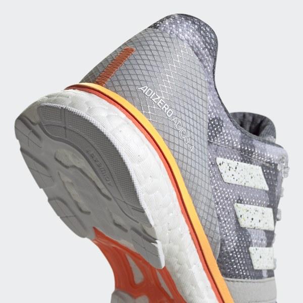 adidas Adizero Adios 4 Shoes Damen grey twofootwear whitehi res coral