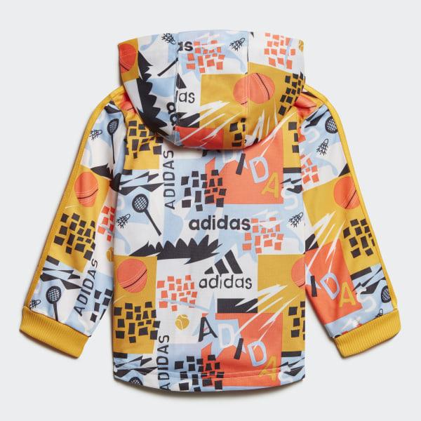 adidas Shiny Hooded Jogginganzug Blau | adidas Deutschland