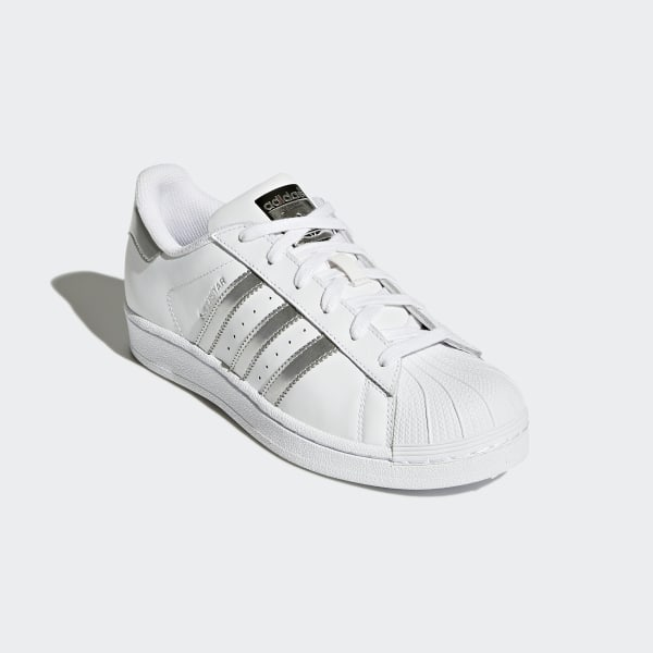 Kids Adidas Superstar 10 2 Sports Shoes Silver Metallic