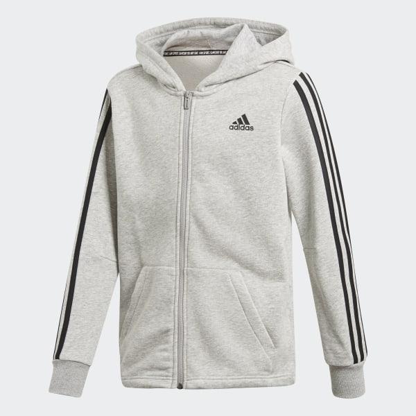 Neue adidas Originals Damen's 3 Streifen Full Zip Hoodie Grau