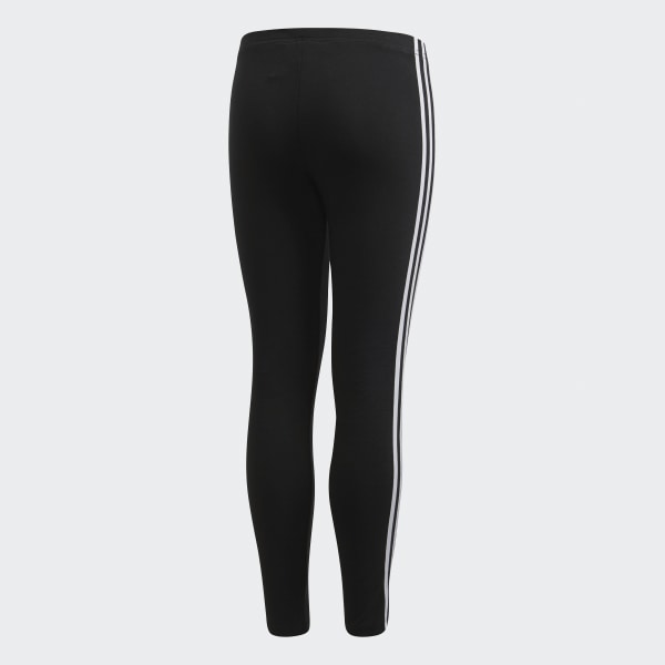 Adidas Girl/'s 3 Stripe Leggings Black