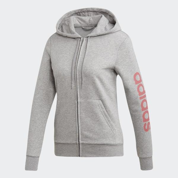 Veste à capuche Essentials Linear Gris adidas | adidas France