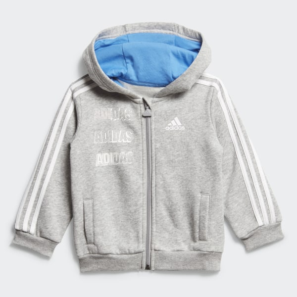 adidas Hooded Fleece Jogginganzug Grau | adidas Deutschland