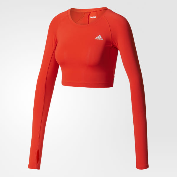 341ec2a9427 adidas Techfit Crop Top - Red | adidas US