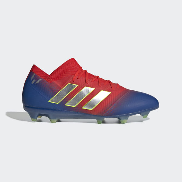 492ad7d6f1a Nemeziz Messi 18.1 Firm Ground Cleats Active Red   Silver Metallic    Football Blue BB9444