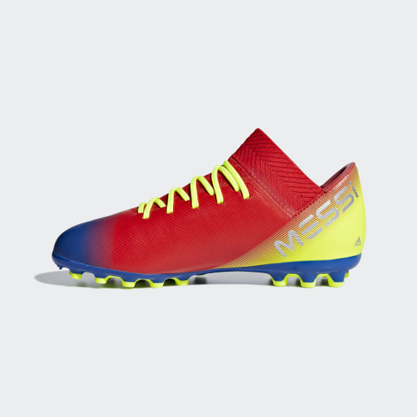 3ae30f01ad63 Nemeziz Messi 18.3 Artificial Grass Boots Active Red / Silver Met. /  Football Blue G26978