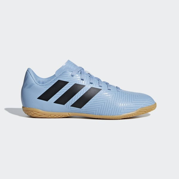 8012feb673 Chuteira Nmz Messi 18.4 Futsal Infantil ASH BLUE S18 CORE BLACK RAW GREY S18