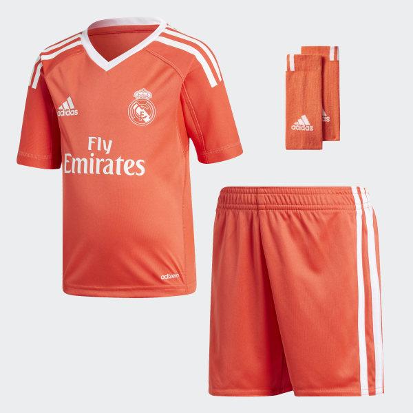 33f12149ef9 Real Madrid Away Goalkeeper Mini Kit Bright Red   White B31086