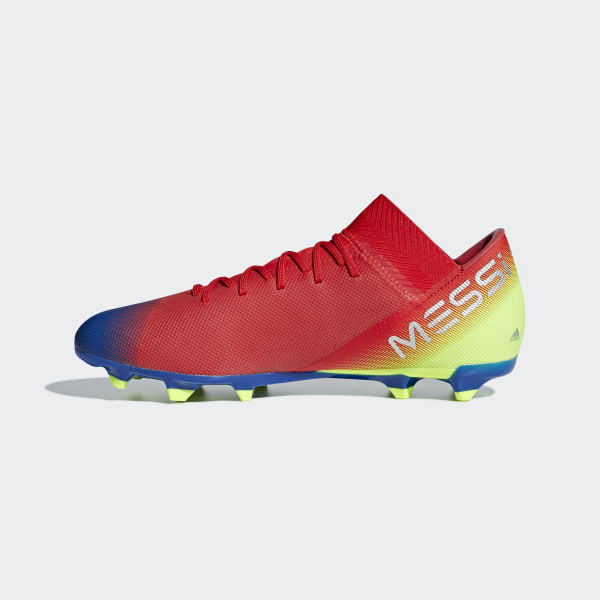 0f36f88e1 Nemeziz Messi 18.3 Firm Ground Cleats Active Red   Silver Metallic    Football Blue BC0316