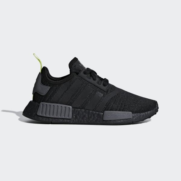 6eae1db2539 NMD R1 Shoes Core Black   Core Black   Solar Yellow F35839