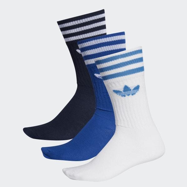 569838754 Solid Crew Sock 3 Pairs Collegiate Navy / Collegiate Royal / White ED9363