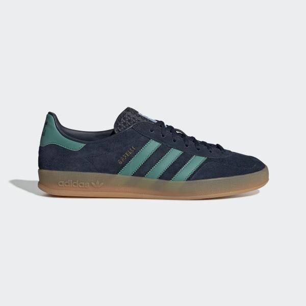new product 2c7fd f38be Gazelle Indoor Shoes Collegiate Navy   Active Green   Bluebird G27501