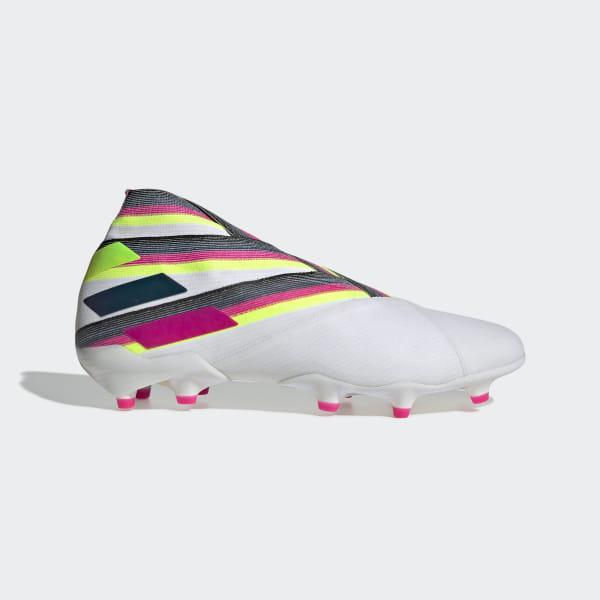 6716e21aa08 Botas de Futebol Nemeziz 19+ – Piso firme Cloud White / Shock Pink / Solar