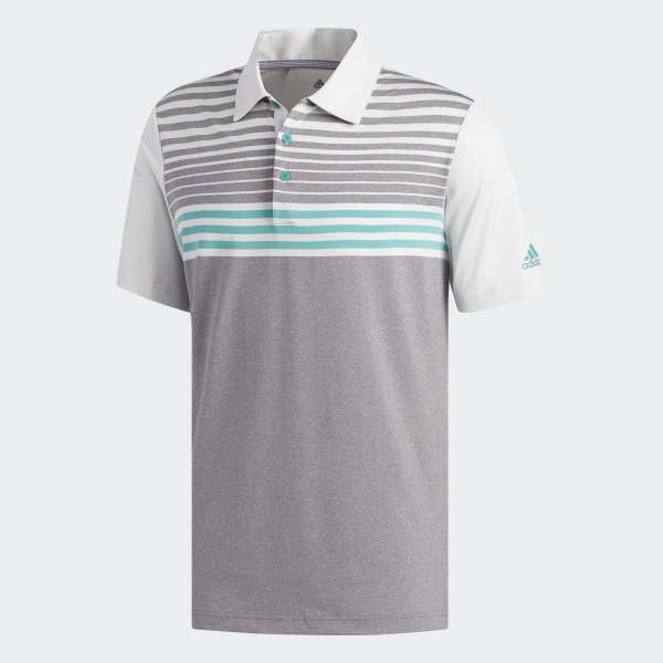 ab29f4e7 Ultimate365 3-Stripes Heathered Polo Shirt Grey Heathered / Crystal White /  True Green DW9177