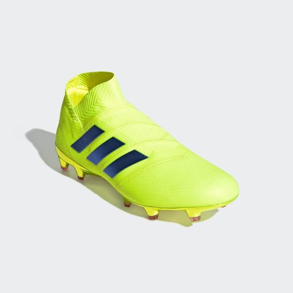 e922c4f3d Nemeziz 18+ Firm Ground Cleats Solar Yellow   Football Blue   Active Red  BB9420