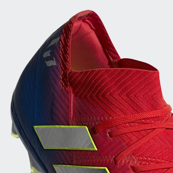 5d9a66006489 Nemeziz Messi 18.1 Firm Ground Cleats Active Red / Silver Metallic / Football  Blue BB9444