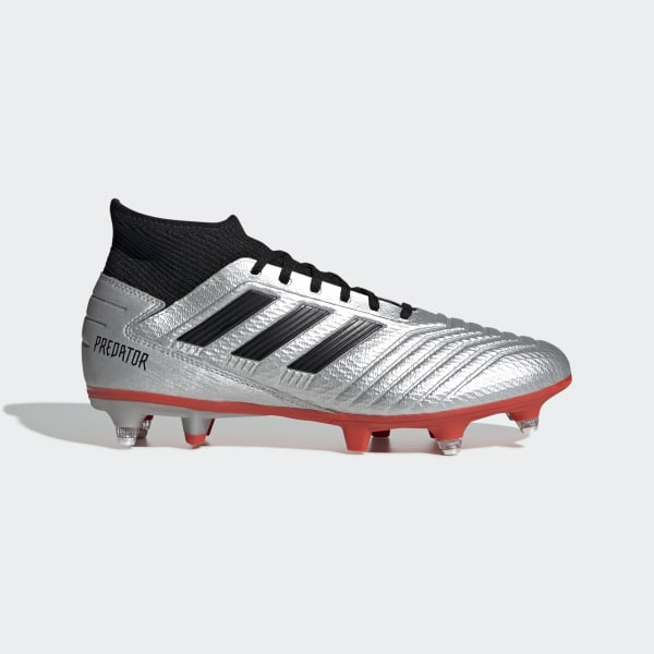 683b1b2df6f Predator 19.3 Soft Ground Boots Silver Met.   Core Black   Hi-Res Red